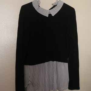 Charlotte Russe Large Sweater Over Button Down Top